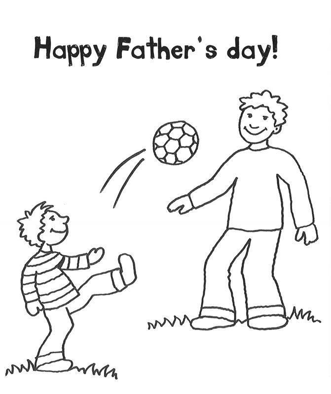 Ausmalbild Vatertag: Vater und Sohn spielen Fußball kostenlos ausdrucken