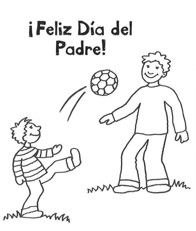 ausmalbild vatertag papi und sohn spielen fußball