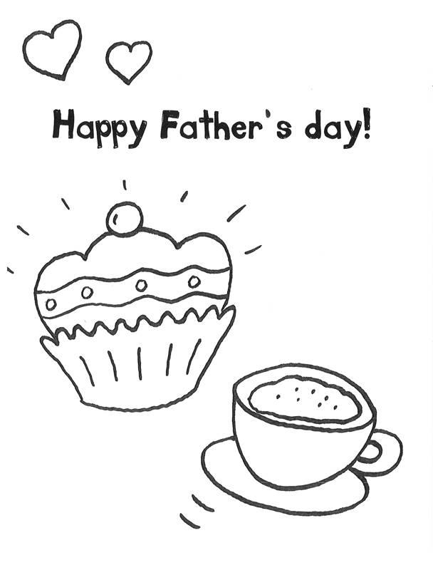 Ausmalbild Vatertag: Kaffeetrinken am Vatertag kostenlos ausdrucken