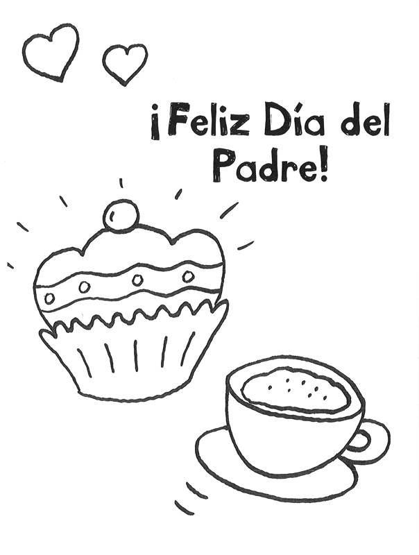 Ausmalbild Vatertag: Kaffee und Kuchen zum Vatertag kostenlos ausdrucken