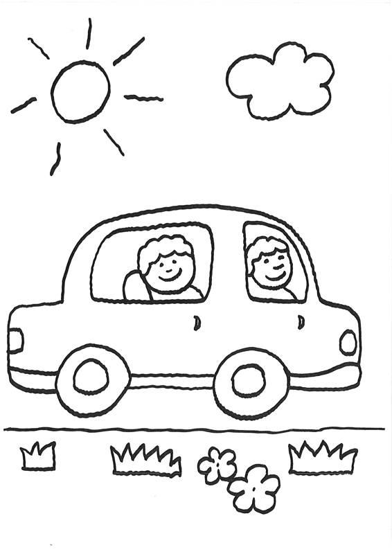 kostenlose malvorlage vatertag ausflug im auto zum ausmalen