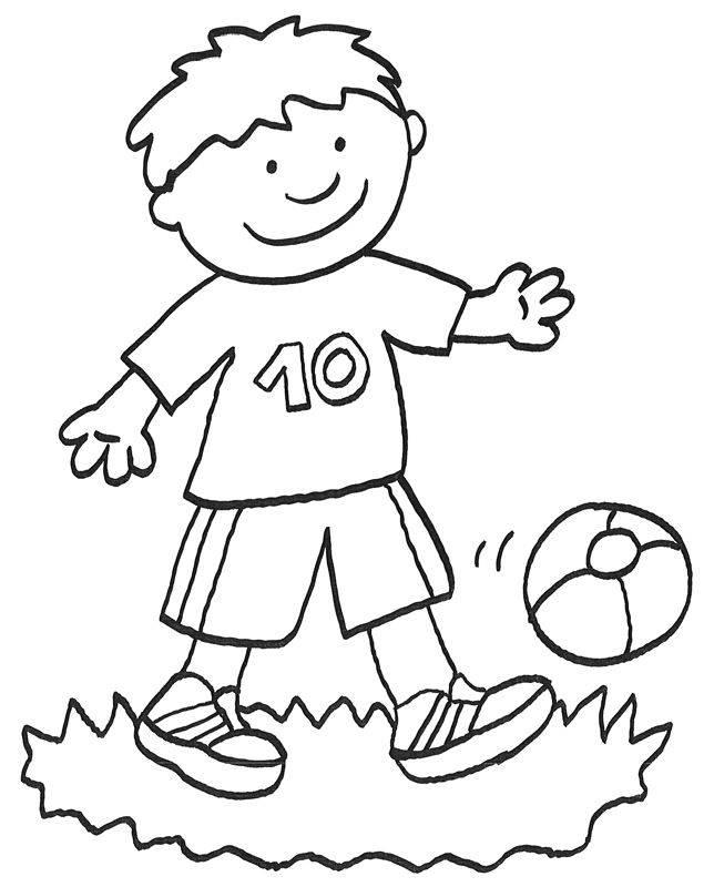 Kostenlose Malvorlage Vatertag: Fußball spielen zum Ausmalen