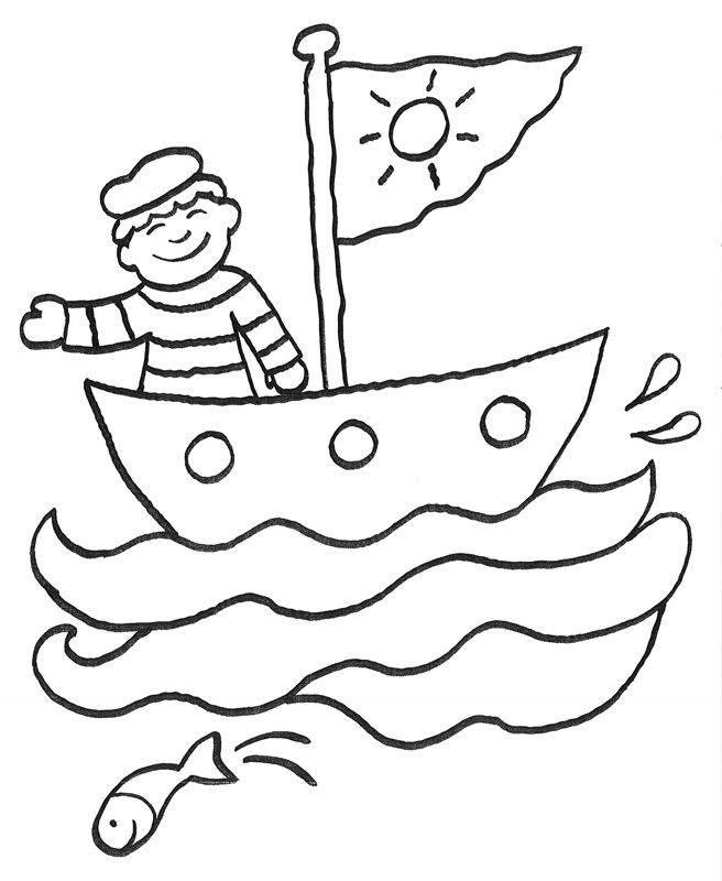 Boot bastelvorlage  Kostenlose Malvorlage Vatertag: Matrose zum Ausmalen