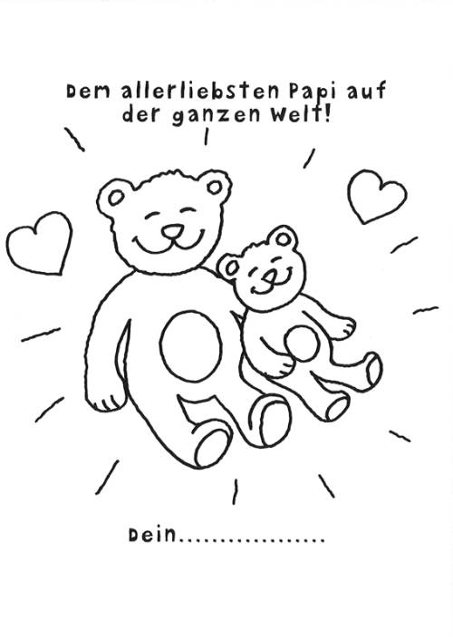 Kostenlose Malvorlage Vatertag Vatertagsurkunde Teddybären Zum Ausmalen