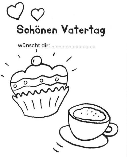 kostenlose malvorlage vatertag: vatertagsgrußkarte kaffee