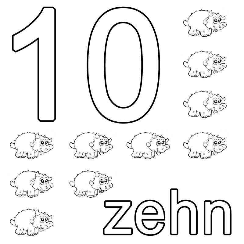 Ausmalbild Zahlen: zehn kostenlos ausdrucken