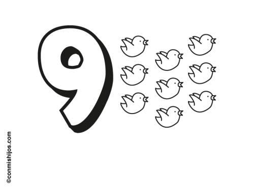 kostenlose malvorlage zahlen: neun vögel zum ausmalen