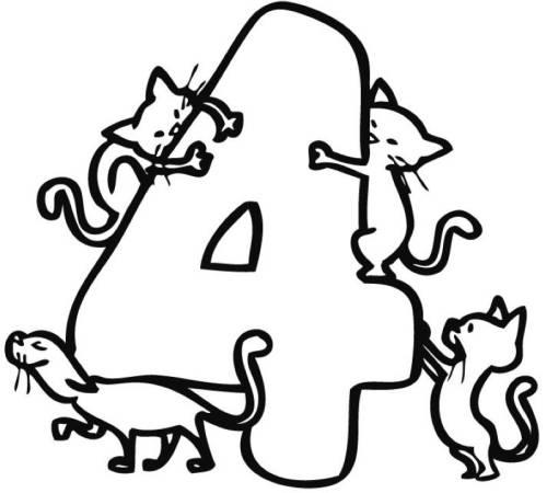 Kostenlose Malvorlage Zahlen: Vier Katzen zum Ausmalen