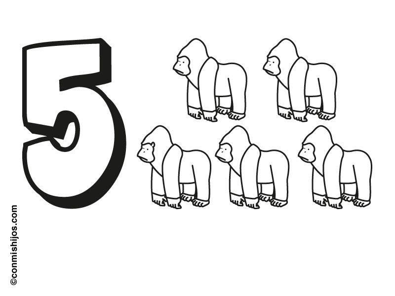 Ausmalbild Zahlen: Fünf Gorillas Kostenlos Ausdrucken