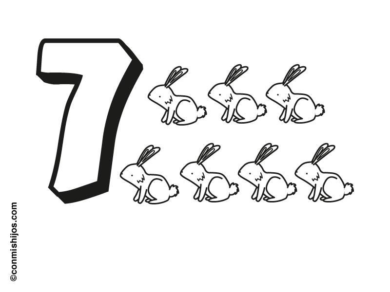 Ausmalbild Zahlen Sieben Hasen Kostenlos Ausdrucken