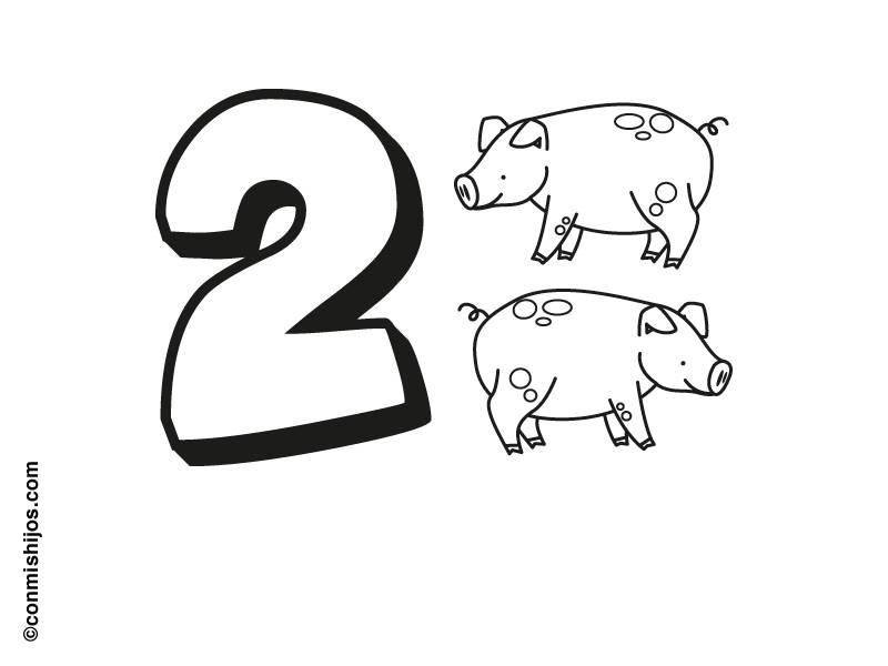 Kostenlose Malvorlage Zahlen: Zwei Schweine Zum Ausmalen