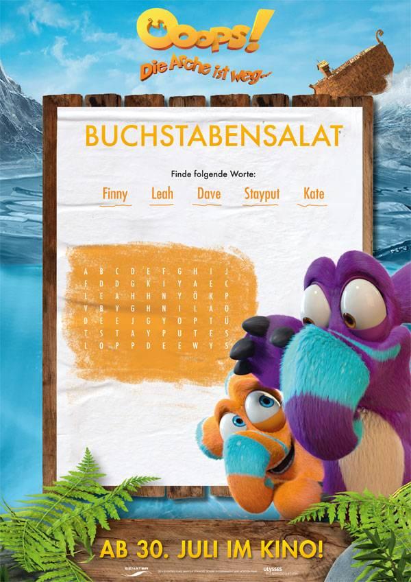Ausmalbild Bilderkreuzworträtsel und Sudoku: Buchstabensalat: Ooops ...