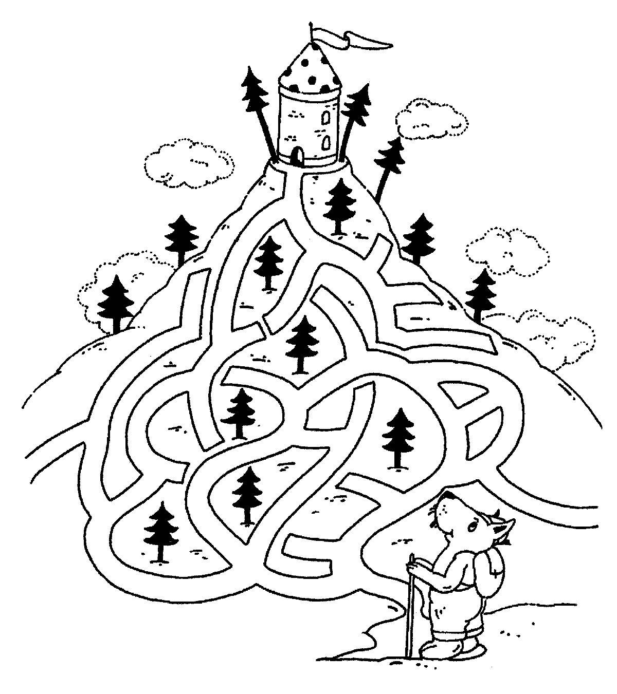 Ausmalbild Labyrinthe für Kinder: Bergwandern kostenlos ausdrucken