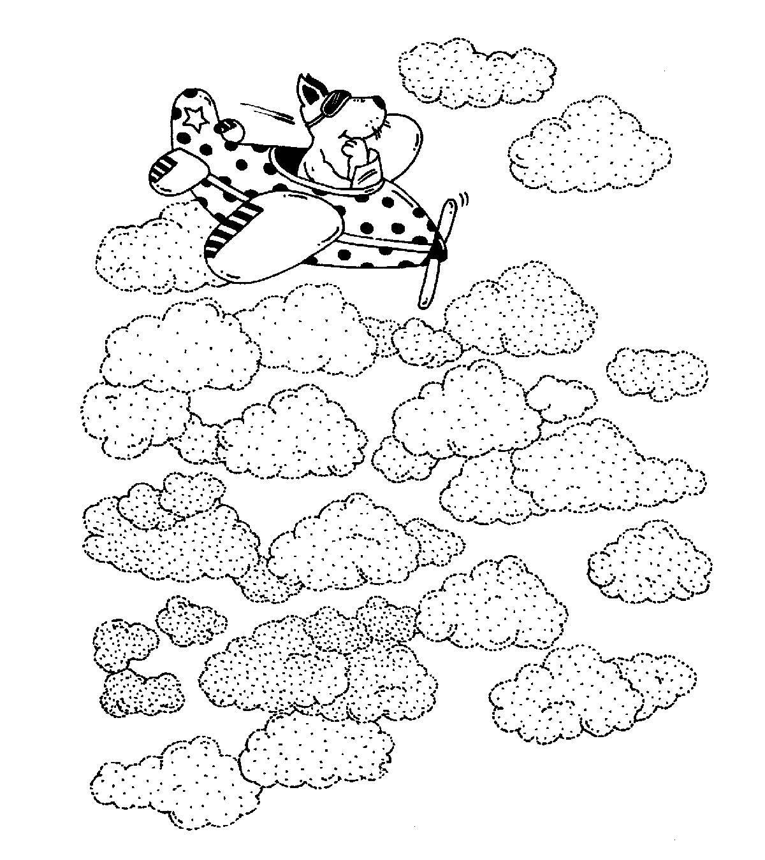 Kostenlose Malvorlage Transportmittel: Flugzeug in den Wolken zum ...