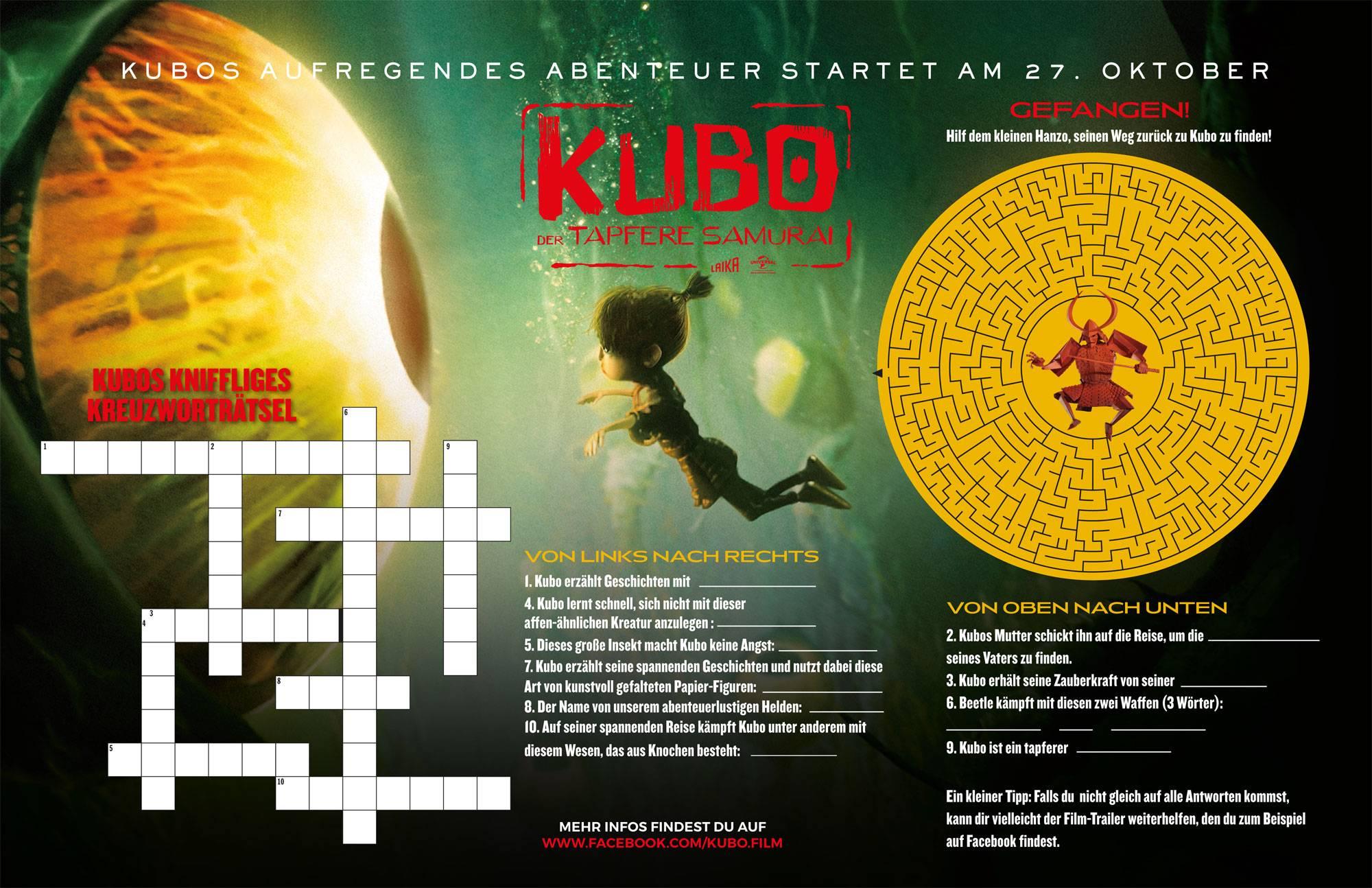 Ausmalbild Bilderkreuzworträtsel und Sudoku: Kubo - Der tapfere ...