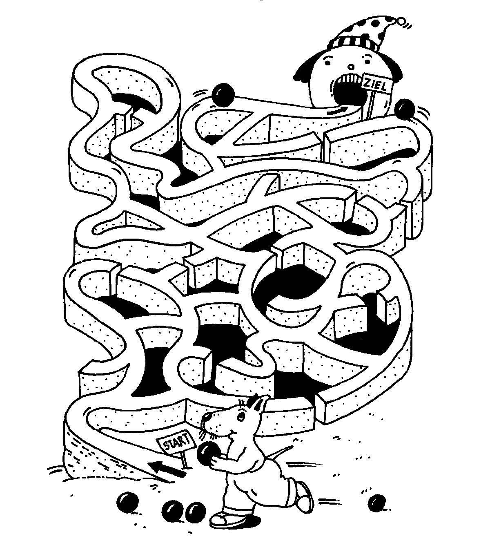 Ausmalbild Labyrinthe für Kinder: Kugelbahn kostenlos ausdrucken