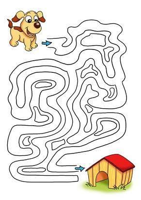 ausmalbild labyrinthe für kinder: hund und hundehütte