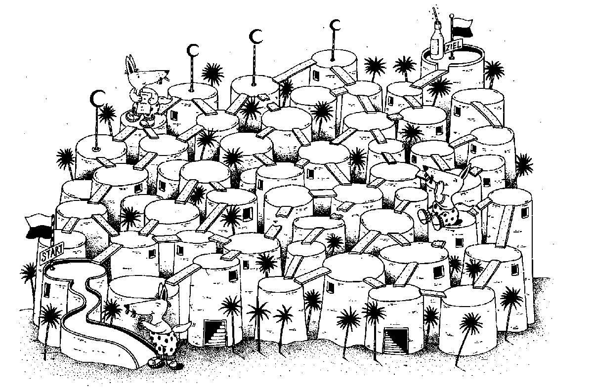 Ausmalbild Labyrinthe für Kinder: In der Wüste Gobi kostenlos ausdrucken