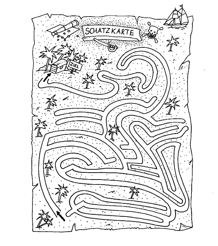 Ausmalbild Labyrinthe für Kinder: Piratenschatz kostenlos ausdrucken