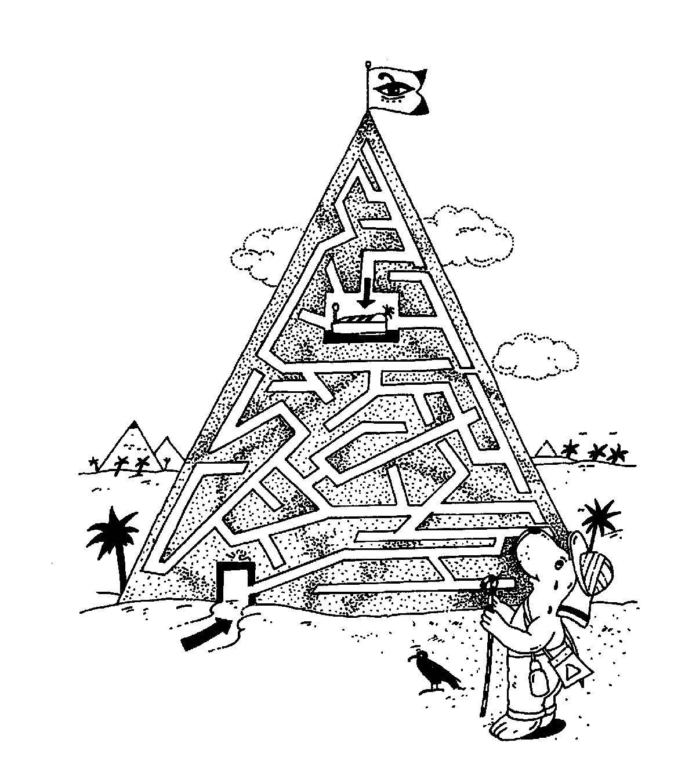 Ausmalbild Labyrinthe für Kinder: Pyramide kostenlos ausdrucken