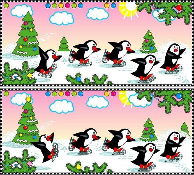 Ausmalbild Suchbilder Für Kinder Pinguine An Weihnachten Kostenlos