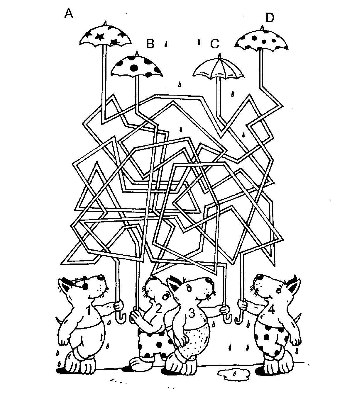 Ausmalbild Labyrinthe für Kinder: Regenwetter kostenlos ausdrucken